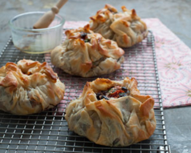 Black Bean Feta And Tomato Filo Pies