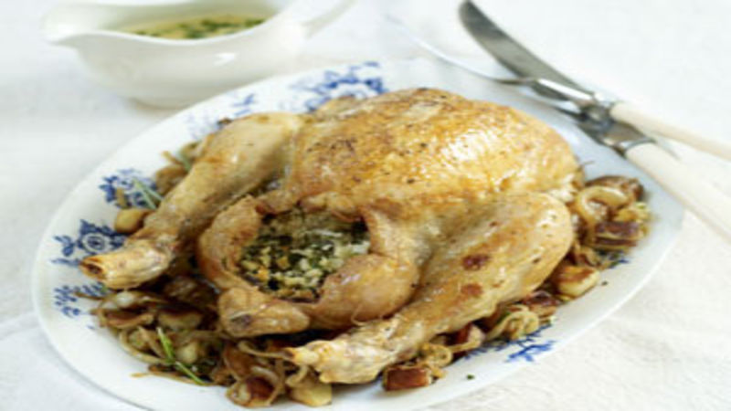 Roast chicken with bacon stuffing and tarragon cream sauce good roast chicken with bacon stuffing and tarragon cream sauce good food channel forumfinder Choice Image