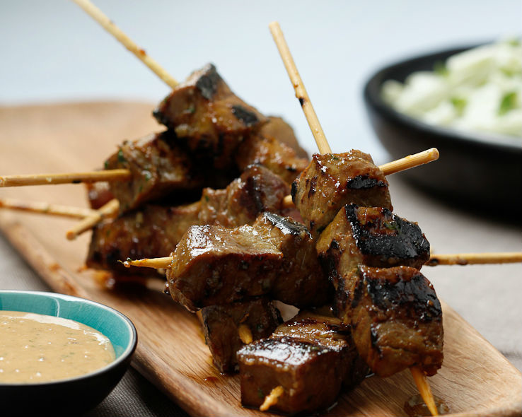 Beef satay with peanut sauce | Good Food Channel