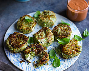 Courgette, butter bean and feta cakes | Good Food Channel