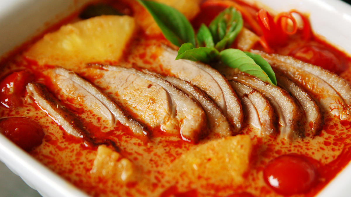 Duck curry with coconut and papaya | Good Food Channel