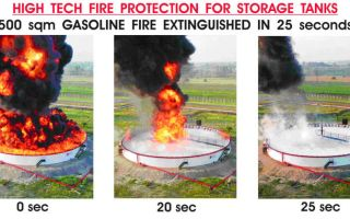 Pressurized instant foam fire protection system for large diameter atmospheric storage