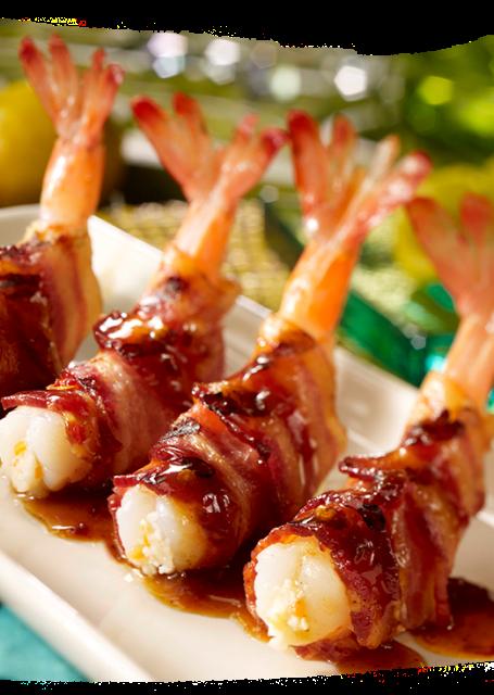 Honey Habanero Bacon Wrapped Shrimp: For those who like it hot!