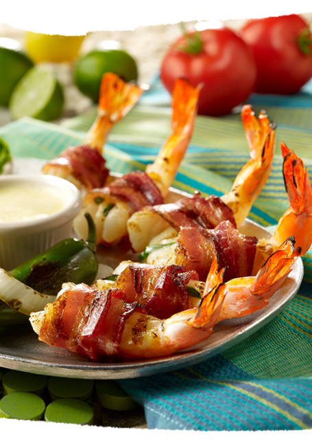 Bacon Wrapped Camarones: For those who like bacon & a little kick.