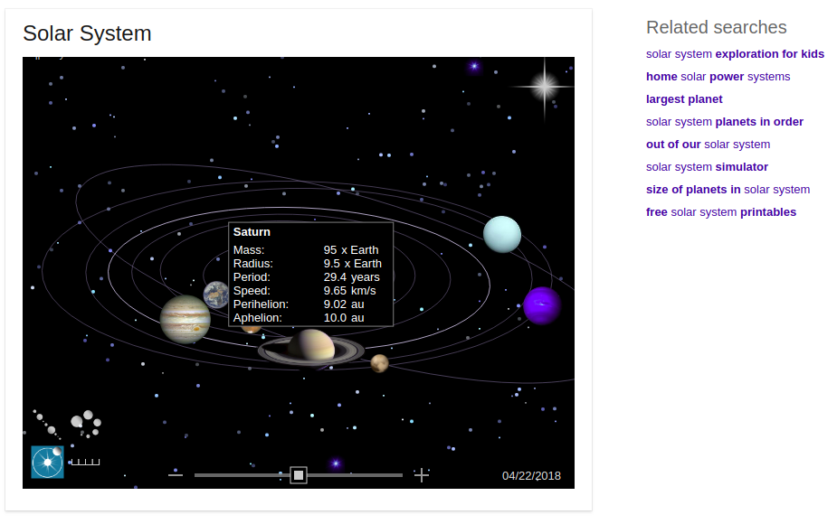 Saturn on Hover in Bing