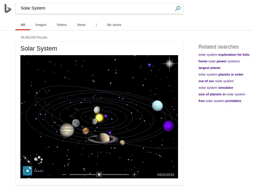 Solar System Search on Bing