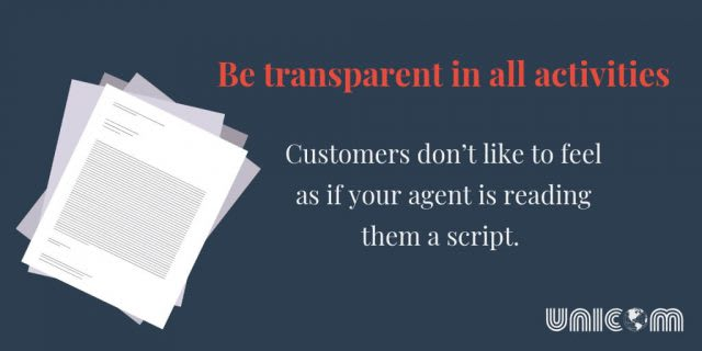 Be transparent in all activities