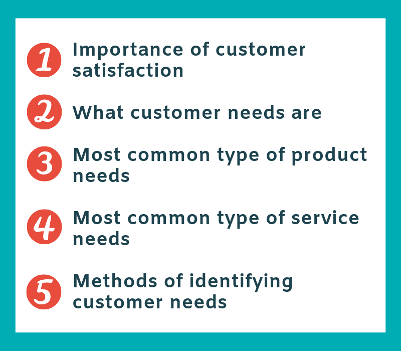 Know your customers needs main topics