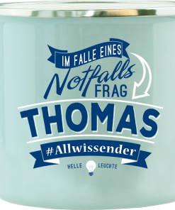 "Hellblauer Emaille-Becher ""Thomas"""