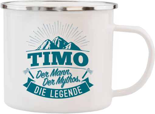 """Weißer Emaille-Becher """"Timo"""""""