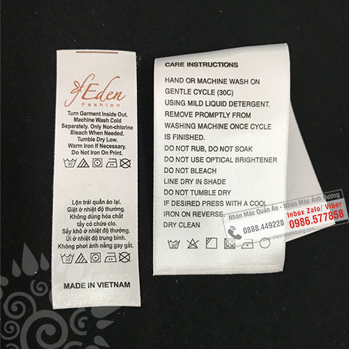 CARE LABEL - NHÃN HDSD