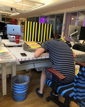 We miss our teammates so much when they leave. So we show their desks a little love. 💕 Nikki hates bubble wrap. So naturally we covered her desk in it and other famous Nicks, of course. Michael (commonly referred to as Y2k) is a lover of stripes. So we redecorated his desk with his favorite pattern.