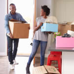 A couple moving into an apartment