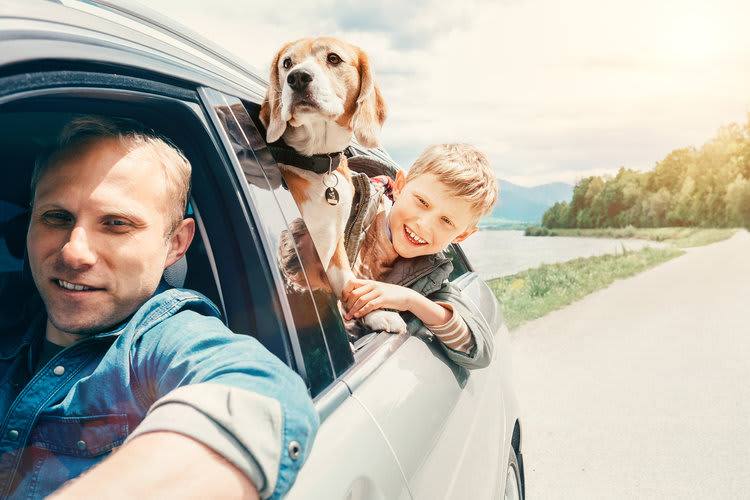 Dad, son and dog in car_new home checklist