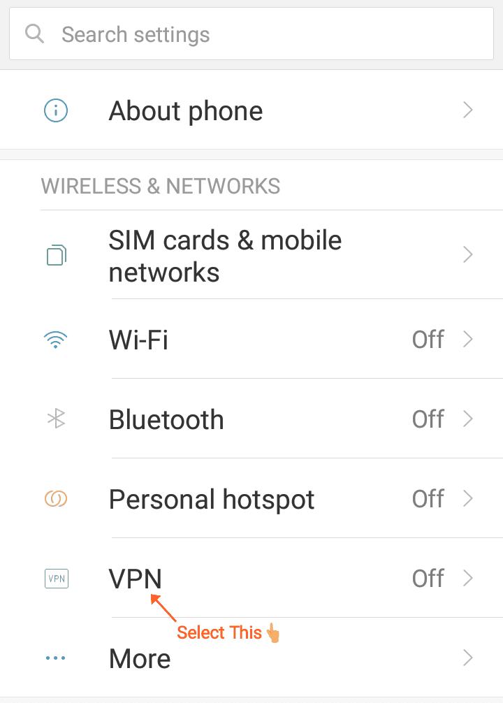 Select VPN option