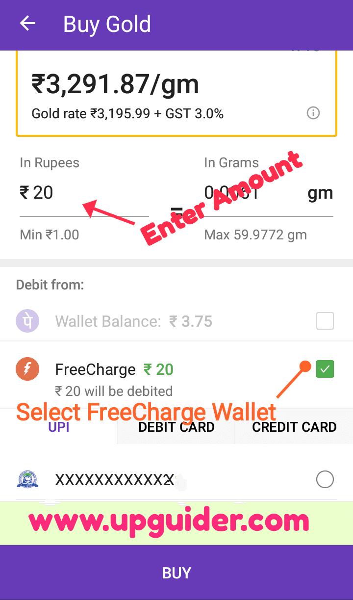 Freecharge balance transfer