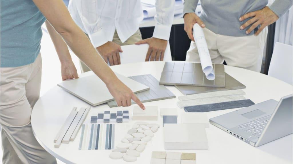 Interior designers discussing