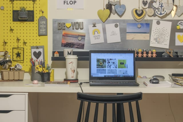 A workspace designed for someone working from home