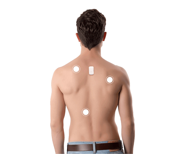 Shirtless man with UPRIGHT GO 2 and key benefit points on his back