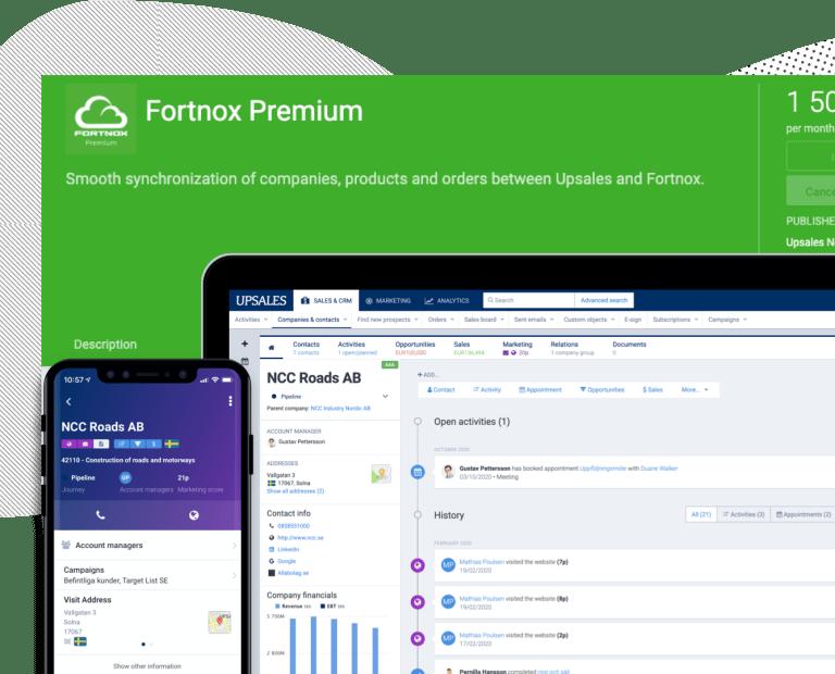 Upsales Fortnox premium integration