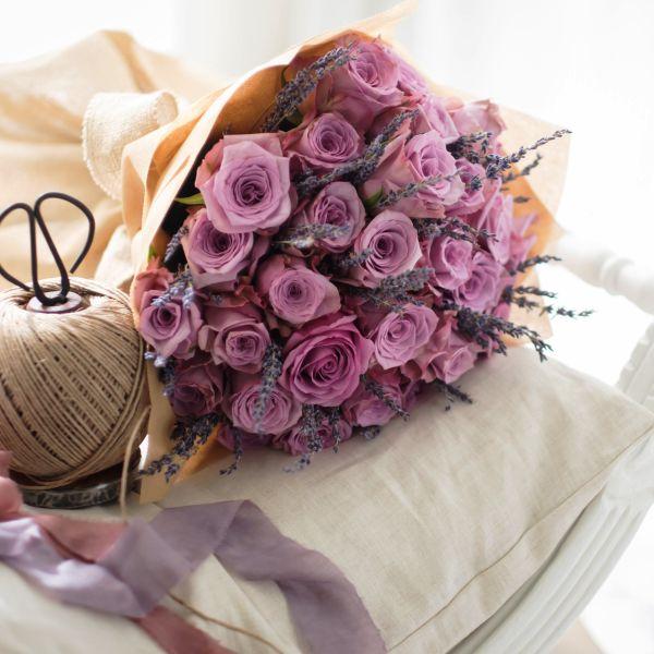 Premium pink Roses, Lavender   Buy Flowers in Dubai UAE   Gifts   Cakes