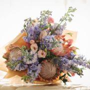 Prince Charming | Huge Protea, Roses, Delphinium, Matthiola