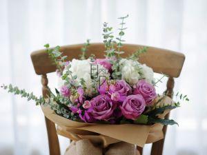 White premium Roses, Hydrangea, Mokara, Eucalyptus, Aralia
