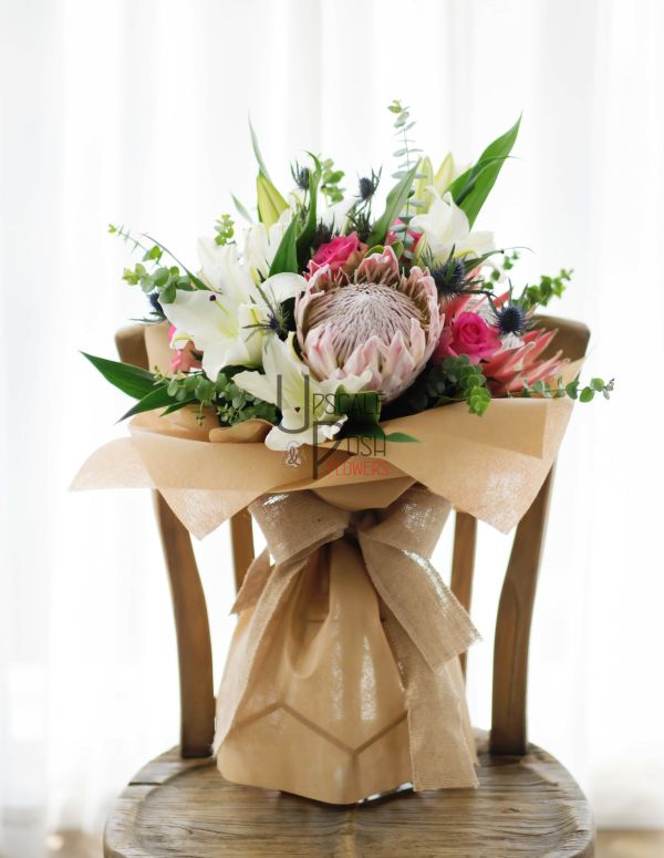 Huge Protea, Oriental Lily, Roses   Buy Flowers in Dubai UAE   Gifts   Cakes