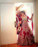 Cherry Colored Bridal Lehenga With Floral Motifs by Kabeer Grover Wedding-photography Wedding-dresses | Weddings Photos & Ideas