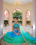 Teal Mirror Work Bridal Lehenga With Golden Borders by Kabeer Grover Wedding-photography Wedding-dresses | Weddings Photos & Ideas