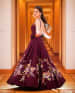 Mahogany Floral Sequined Backless Gown by Kabeer Grover Wedding-photography Wedding-dresses | Weddings Photos & Ideas