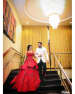 Red Double Layered Gown Complimenting White And Black Suit by Kabeer Grover Wedding-photography Groom-wear-and-accessories Wedding-dresses | Weddings Photos & Ideas
