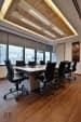 Spacious Meeting Room With Woody Tones by Arjun Sobti  Modern | Interior Design Photos & Ideas