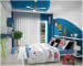 Cobalt Blue Kids Bedroom With Round Shelf by Monnaie Architects Bedroom Contemporary | Interior Design Photos & Ideas
