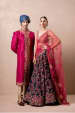 Navy Blue Lehenga With Floral Print For Bride And Dark Pink Sherwani For Groom by Shyamal & Bhumika Wedding-dresses Groom-wear-and-accessories | Weddings Photos & Ideas