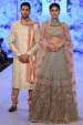 Heavily Embroidered Blue Lehenga And Peach Off White Sherwani by Shyamal & Bhumika Wedding-dresses Groom-wear-and-accessories   Weddings Photos & Ideas