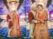 Orange Heavily Embroidered Lehenga Complimenting the Cream Coloured Sherwani of the Groom by Priyanka Kamboj Wedding-photography Wedding-dresses | Weddings Photos & Ideas