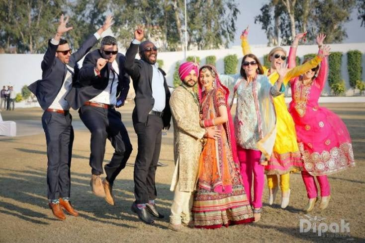 Excited Bride and Groom With Bridesmaid and Groomsmen by Kabeer Grover Wedding-photography Groom-wear-and-accessories Wedding-dresses | Weddings Photos & Ideas