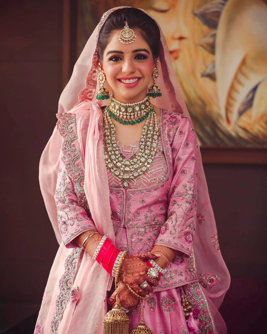 Ostentatious Kundan Accessories Complimenting Pink Attire Of Bride by Kabeer Grover Wedding-photography Bridal-makeup Bridal-jewellery-and-accessories | Weddings Photos & Ideas
