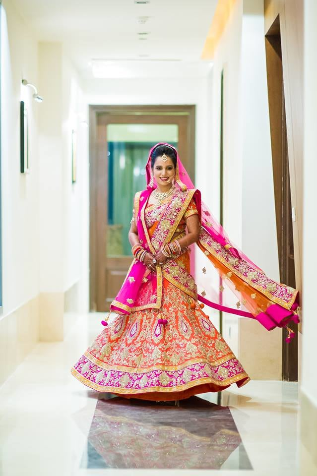 Bride Wearing Pink and Orange Bridal Lehenga. by Aviral Panthri Wedding-photography Wedding-dresses | Weddings Photos & Ideas
