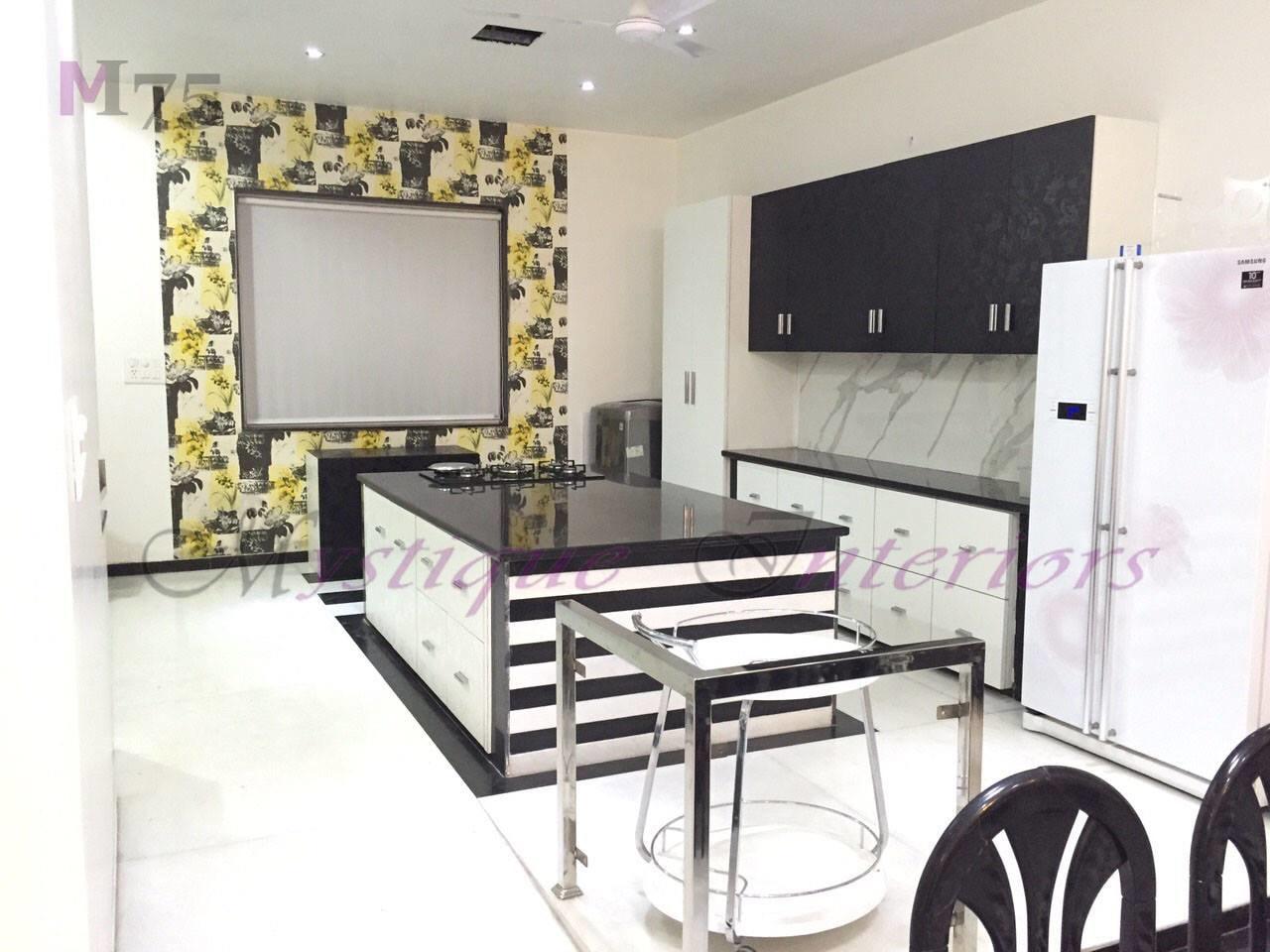 floral White Modular Kitchen With Wall Art And Cabinets by Khyaati Verma Modular-kitchen Modern | Interior Design Photos & Ideas