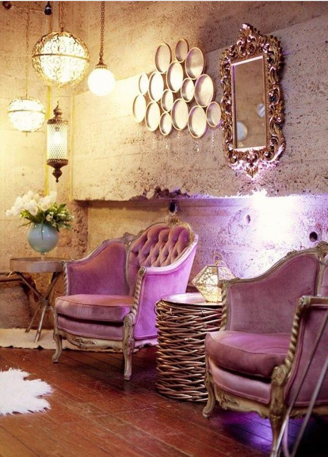 Living Room With Purple Lounge Chair And Traditional Lights by Ishika singh Living-room Traditional | Interior Design Photos & Ideas