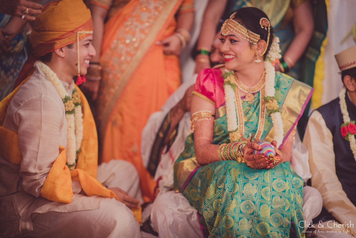 Coral Green Kanjeevaram Saree With Golden Borders With Gold And Pearl Jewellery by Dushyantha Kumar C Wedding-photography Bridal-jewellery-and-accessories | Weddings Photos & Ideas