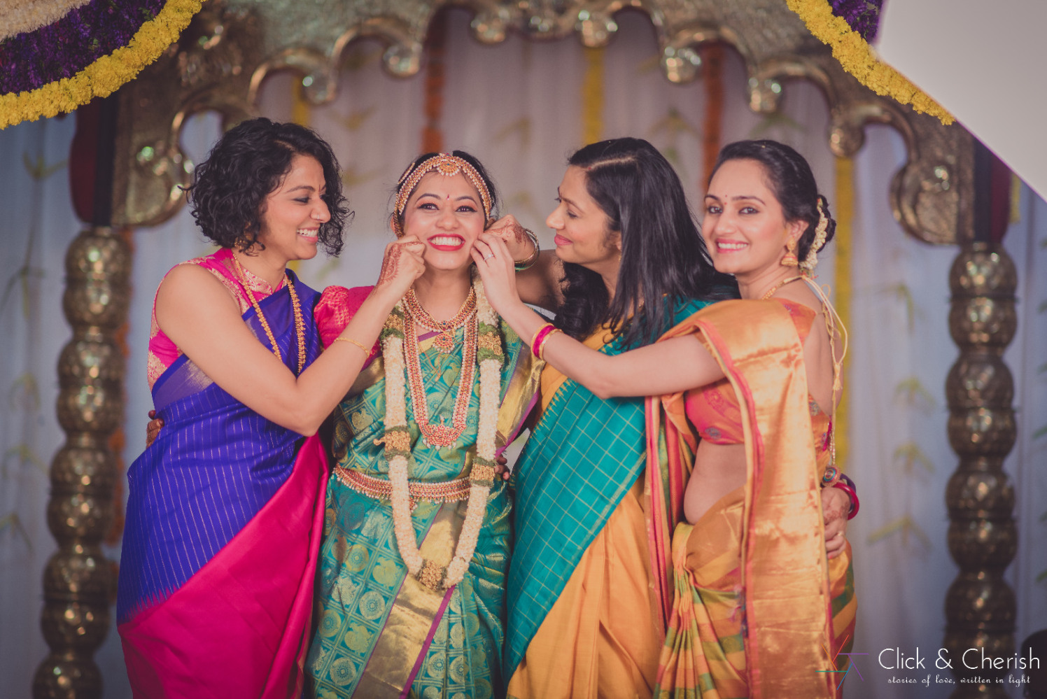 Coral Green Saree With Golden Borders by Dushyantha Kumar C Wedding-photography Bridal-jewellery-and-accessories | Weddings Photos & Ideas