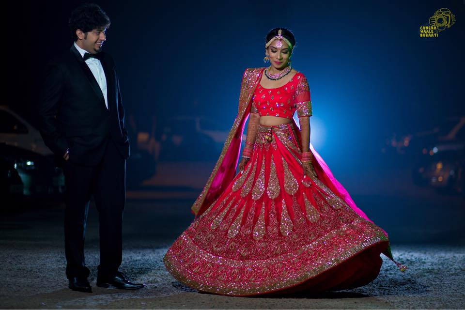 Bridal Wearing Exquisite Crimson Red Lehenga With Cut Dana Work by Camera Waale Baraati Wedding-photography Groom-wear-and-accessories Wedding-dresses | Weddings Photos & Ideas