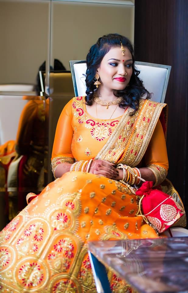 Bride Adoring A Stunning Orange Lehenga! by Saurabh Bridal-jewellery-and-accessories Wedding-photography Wedding-dresses Bridal-makeup | Weddings Photos & Ideas