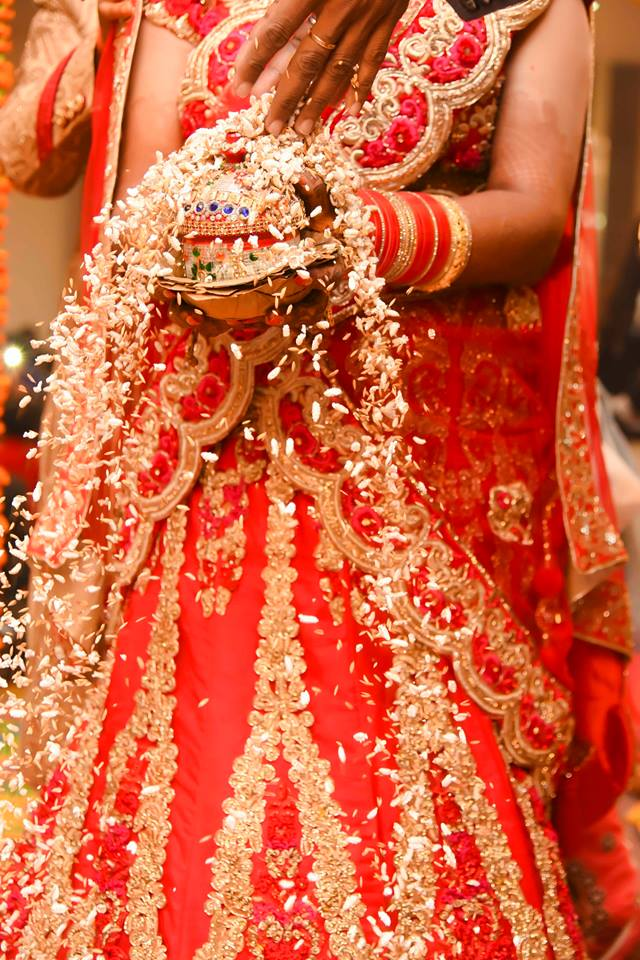 Red Lehenga Lavished With Gold Work! by Saurabh Wedding-photography | Weddings Photos & Ideas