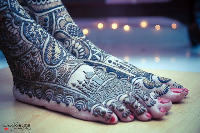 Indian Mehendi Design With Taj Detailing! by Nikhil Arora Bridal-mehendi | Weddings Photos & Ideas