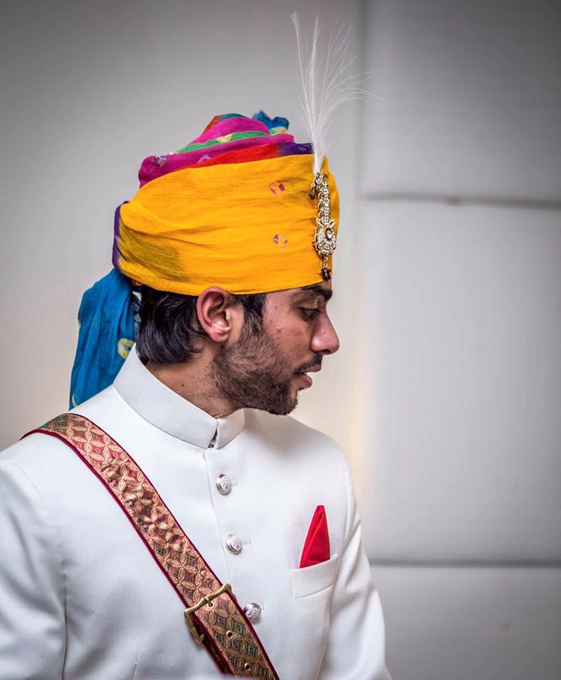 Rainbow color Turban With Feather Brooch by Kunal Khanna Groom-wear-and-accessories   Weddings Photos & Ideas