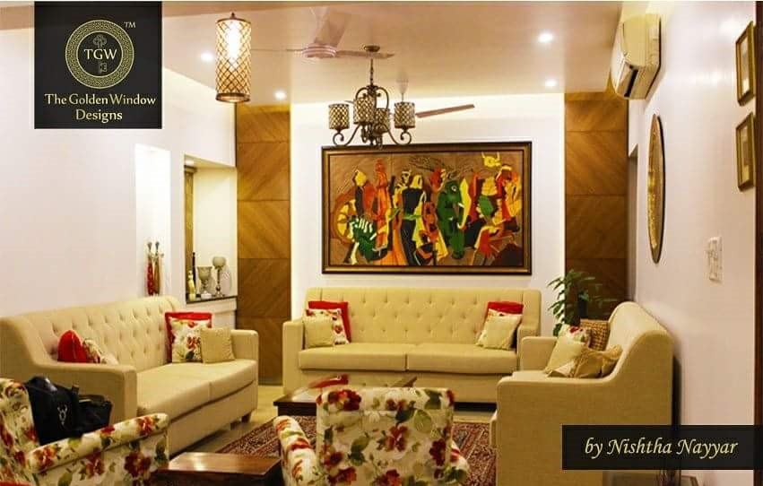 Living Room with Cream Sofa and a Traditional Wall Painting by Chetan Chanana Living-room Traditional | Interior Design Photos & Ideas